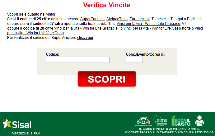 verifica schedina superenalotto