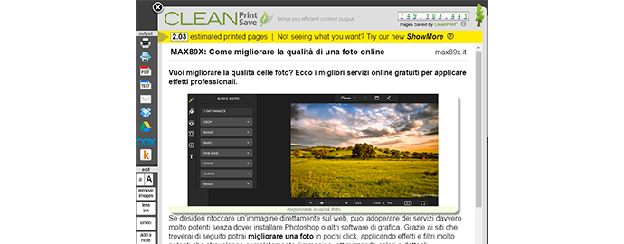 salvare pagina web pdf