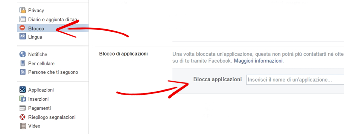 blocca app facebook