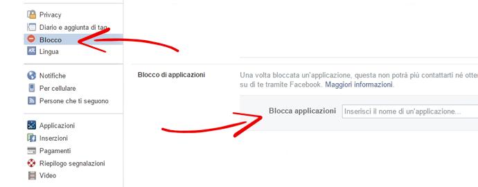 blocca app facebook