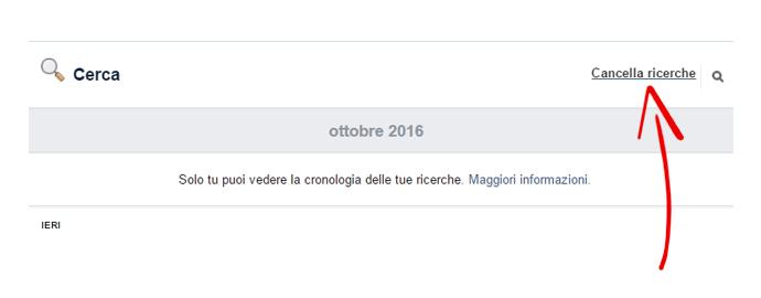 rimuovere cronologia facebook