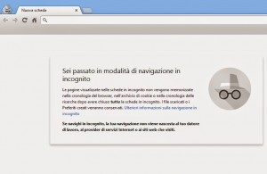 Modalità in incognito Google Chrome