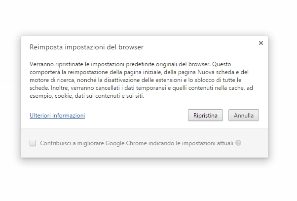 Ripristino Google Chrome