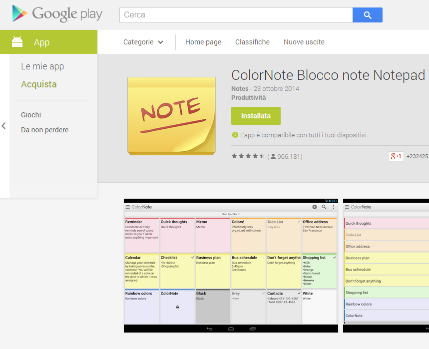Colornote Android