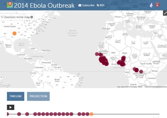 Mappa virus epidemia ebola