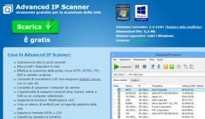Programma per scansione rete wifi: Advanced IP Scanner