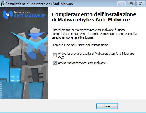 eliminare malware Malwarebytes