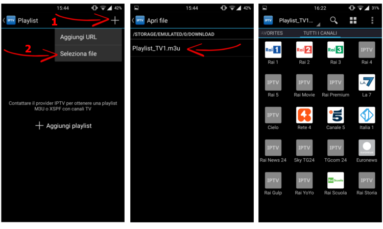vedere tv android